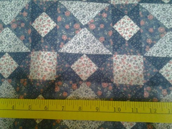 Cotton Patchwork Look Blue Pink Calico Fabric Pristine 3+ yards #PeterPanFabrics