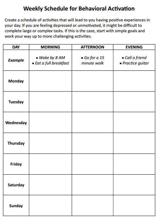 Weekly Schedule For Behavioral Activation Worksheet With Images