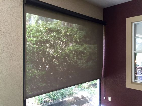 Exterior solar shades for the lanai block sun and heat - Exterior sun blocking window shades ...