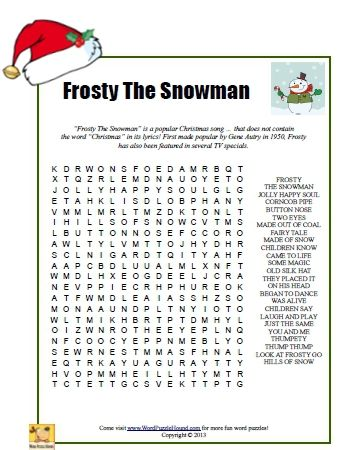 frosty the snowman word search christmas printable puzzle