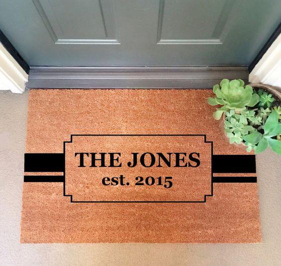 """Custom Family Doormat LARGE 24""""x 35"""" Heavy Duty Coir Doormat / Welcome Mat / Door mat"""