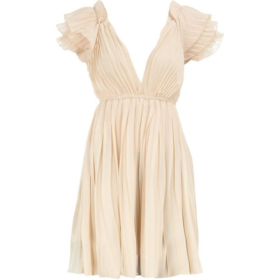 Beige pleated tunic found on Polyvore