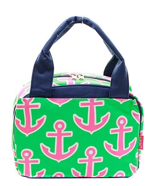 Monogrammed Lunch Bag Pink and Green Anchor by DoubleBEmbroidery on Etsy