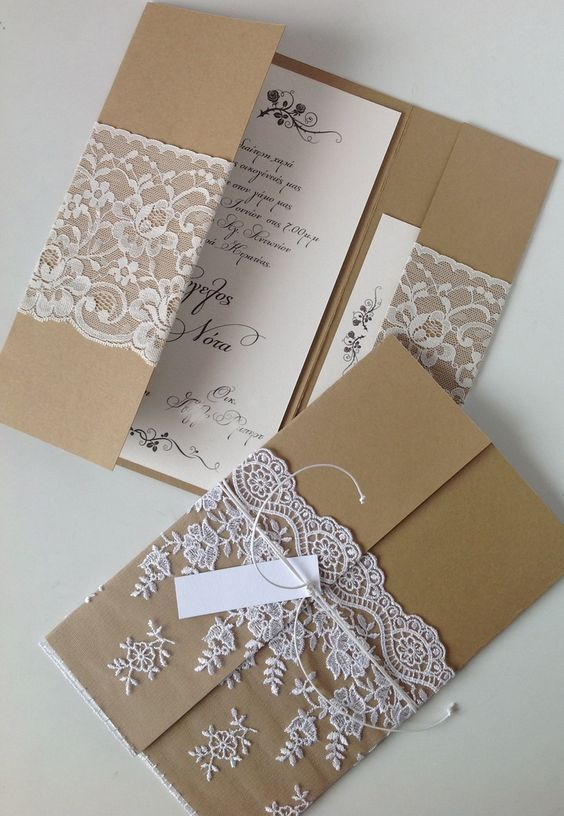 Rustic Pocket Wedding Invitations With Lace Wrap Country Weddings Wedding Card Diy Wedding Invitations Diy Vintage Vintage Wedding Invitations