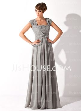 A-Line/Princess V-neck Floor-Length Chiffon Mother of the Bride Dresses With Ruffle Beading (008005692)