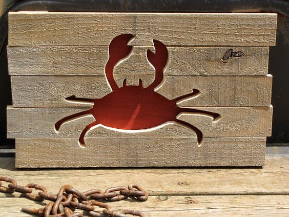 Reclaimed Pallet Wood Crab Wall Art New England Decor: