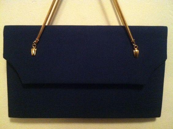 Vintage Navy & Gold i Santi Handbag. $12.00, via Etsy.