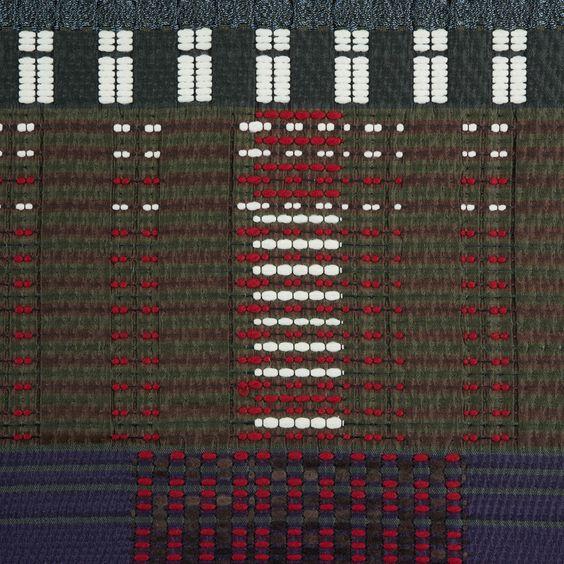 Oscar de la Renta Vetiver/Purple Reign/Scarlet Geometric Wool Embroidered Woven