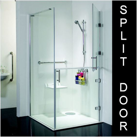 Access Disabled Shower 1000 x 1000 Wet Room Tray Split Door Enclosure.  A level access, 1000 x 1000 wet room tray disabled shower frameless enclosure with split door. The stylish full height wetroom hinged split shower doors are also offered with a fixed side panel, making frameless shower enclosures which are suitable for use with 900 x 900mm and 1000 x 1000mm wet room kits.