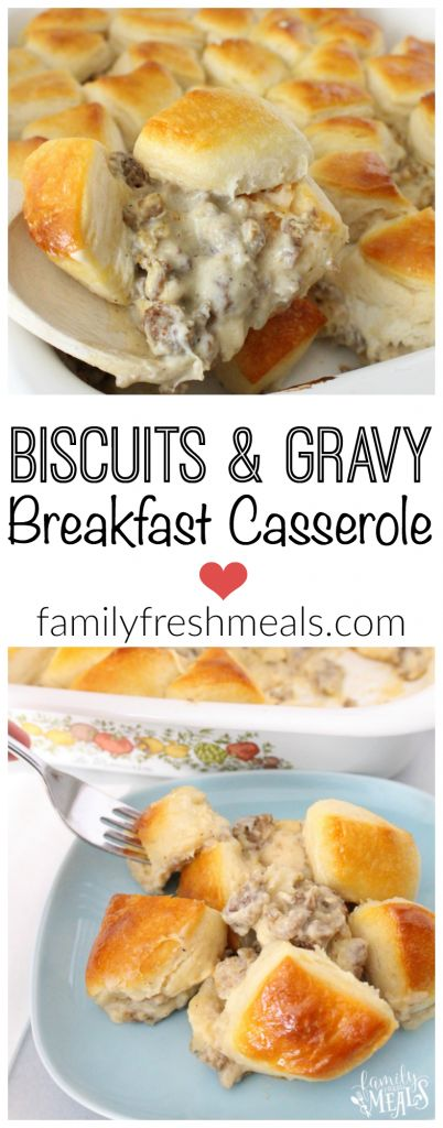 "Biscuits and Gravy Breakfast Casserole Recipe via Family Fresh Meals - ""A family favorite breakfast that is a cinch to make!"" - The Best Homemade Biscuits Recipes - Quick, Easy and Delicious Bread Sides for Breakfast, Brunch, Lunch and Family Dinner! #biscuits #biscuitrecipes #homemdebiscuits #easybiscuits #rolls #homemadebreadsides #bread #breakfastrecipes #comfortfood"