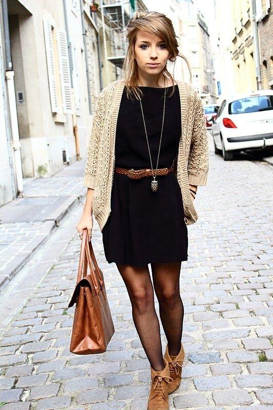 black dress with brown cardigan | Black dress, brown cardigan ...