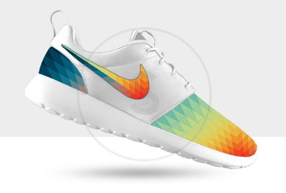 These are custom, made to order Nike Roshe Runs with a Prismburst print toe and heel. These shoes are unisex, however, come in MENS sizes 6-15,