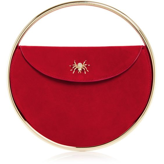 Charlotte Olympia Red Suede This Is Not A Bag Handbag (£770) ❤ liked on Polyvore featuring bags, handbags, purses, charlotte olympia handbags, suede leather handbags, embellished handbags, suede purse and suede handbags