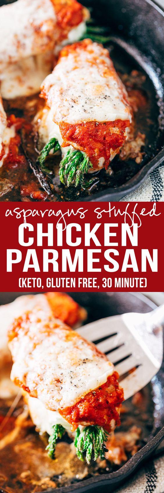 asparagus stuffed chicken parmesan (keto, gluten free, 30 min)