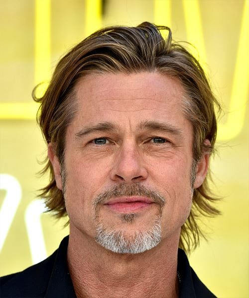 Brad Pitt Short Straight Copper Brunette Hairstyle With Layered Bangs Brad Pitt Haircut Brad Pitt Hair Medium Length Hair Men