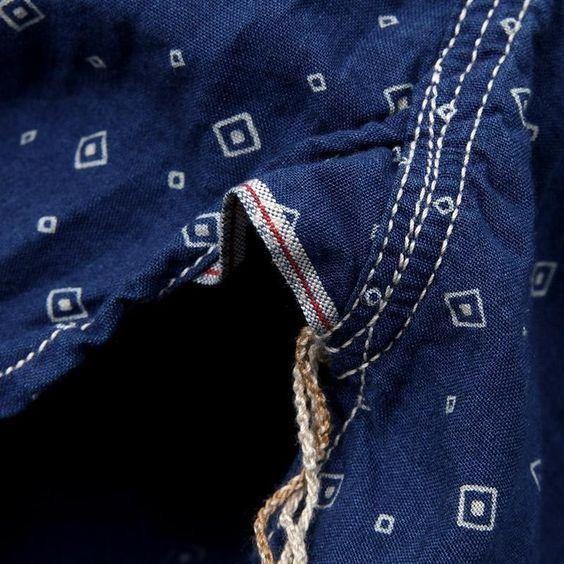 J.S. Homestead Indigo Calico 2 Pocket Workers Shirt (Navy)