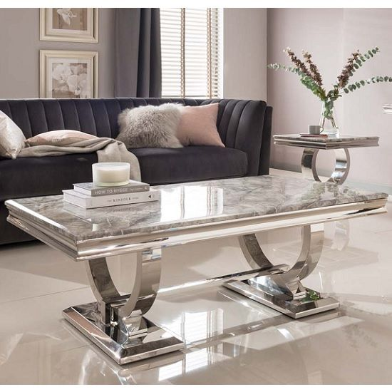 Kesley Coffee Table In Grey Marble Top And Stainless Steel Base