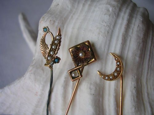 3 Antique Stick Pins 10K 14k Gold Seed Pearls Turquoise Cresent Moon Flowers | eBay