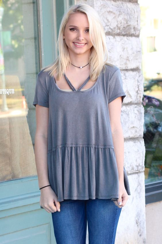 Cross Me Strappy Loose Fit Peplum Blouse {Charcoal}