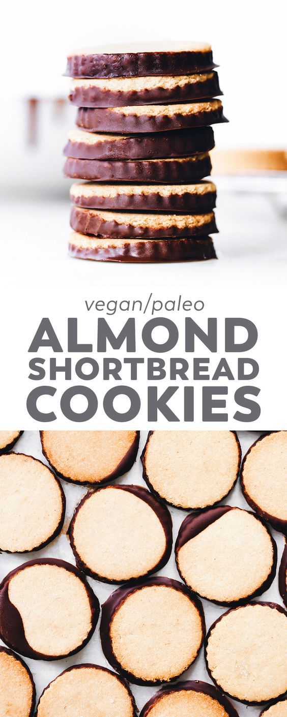 Simple, buttery Almond Shortbread Cookies made with just 6 ingredients and flavored with @nielsenmassey pure almond extract The perfect easy Christmas (or anytime) cookie! #nielsenmasseypartner #vegan #glutenfree #christmas #cookies #paleo #healthy #easyrecipe