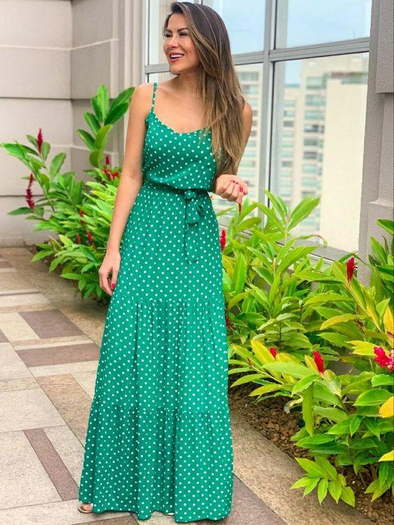 Vestidos Longos de verão verde