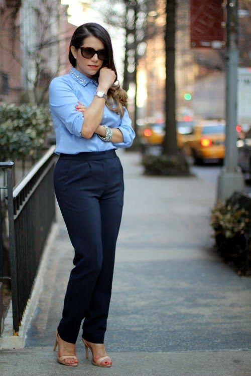 AT blue button up top   navy blue pants   nude heels | Transition