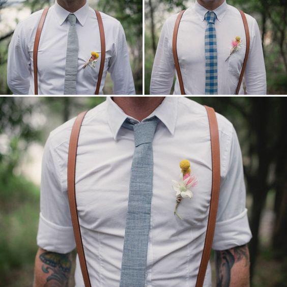 Suspenders. Check. Wool tie. Check. Flower lapel? Check plus!