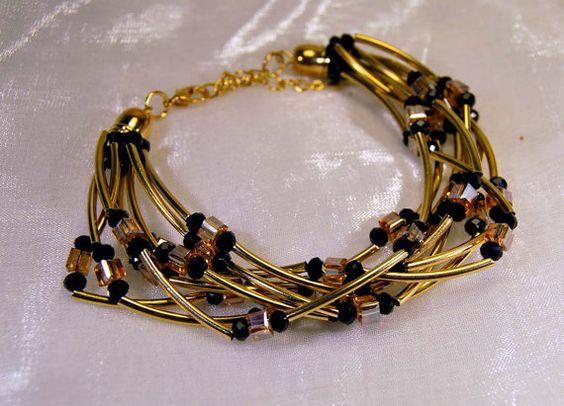 Bracciale placcato oro ad 8 fili con cristalli di JanasBijoux