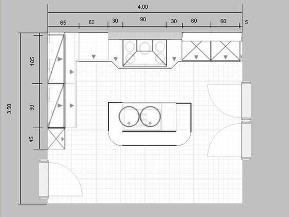 Plan+cuisinebmp (800×600) immo Pinterest - plan de cuisine moderne avec ilot central