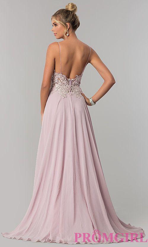 Long V-Neck Open-Back Chiffon Prom Dress in 2019  8207c3cbf