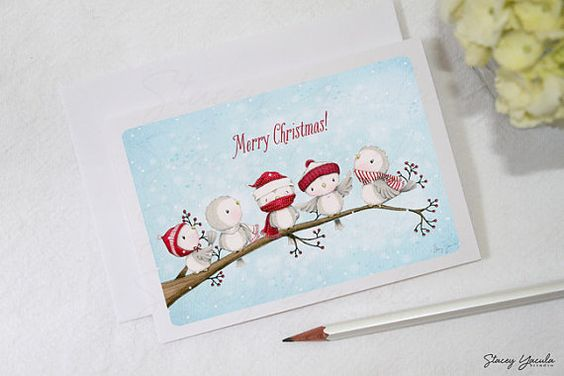 greeting card card birds christmas winter blue von staceyyacula