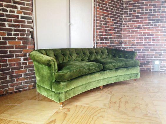 Vintage hollywood regency green velvet tufted sofa green for Vintage velvet sectional sofa