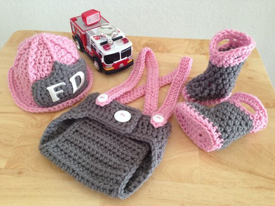 Baby Girl Firefighter Fireman Hat Outfit 4pc Crochet