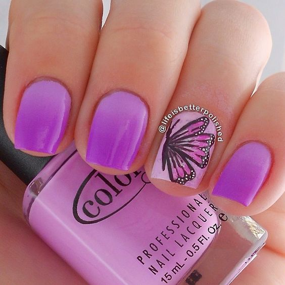 Purple butterfly nail art by lifeisbetterpolished Iconosquare – Instagram webviewer