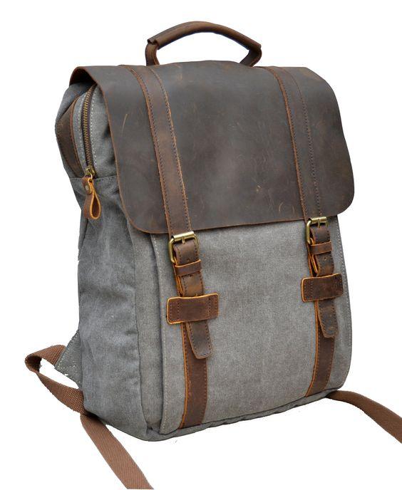 gootium 30520 laptop rucksack aus leinen kombiniert mit echte leder einheitsgr e grau. Black Bedroom Furniture Sets. Home Design Ideas