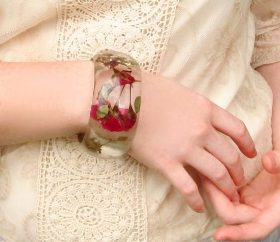 Red Roses Resin Bangle  Pressed Flowers by SpottedDogAsheville, $44.00