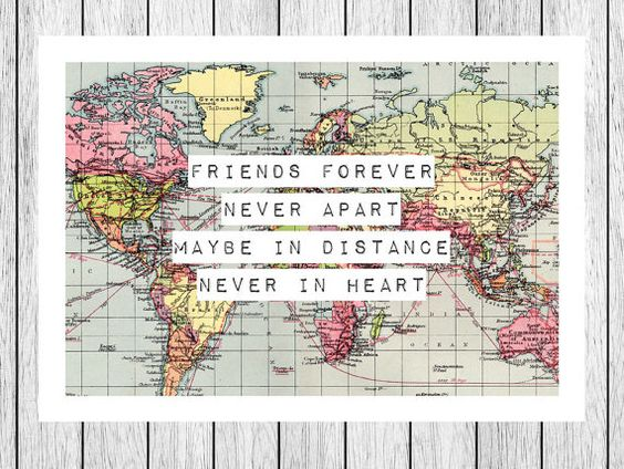 World Map Print Friendship Quote Map 8x10 Friend Gift Long – Maps Travel Distance