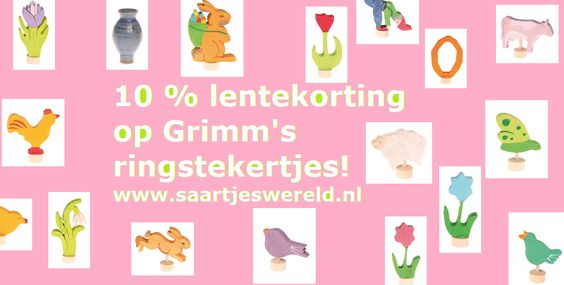 Dit weekend een fijne lente-actie. 10% korting op (bijna) alle Grimm's ringstekertjes! Nu wordt het nog leuker om je seizoenstafel verder af te maken :-)  Nieuwsgierig geworden? Klik hier om direct naar de ringstekertjes te gaan:  http://www.saartjeswereld.nl/grimms-houten-ringstekers