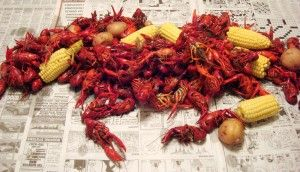 Remnants of a crawfish boil party-- include more than just crayfish in the shot