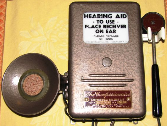 https://flic.kr/p/dofehC | Vintage Confessionaire Hearing Aid for Church Use In Going To Confession | The person going to confession used the hand-held microphone when speaking and listened to the priest through the small speaker.  The hearing aid uses vacuum tubes.