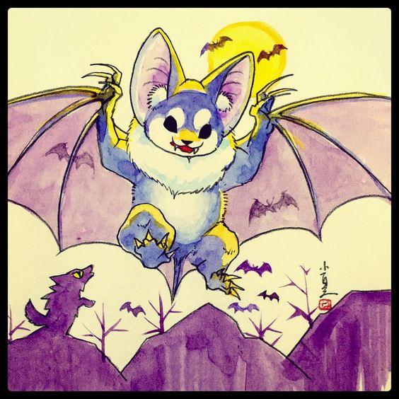 小夏屋怪獣図鑑「ドキュラ」 大蝙蝠の怪獣。夜にたくさんの小さいコウモリを引き連れて飛び回る。音波を出して攻撃する。果物が好物。 #konatsuya