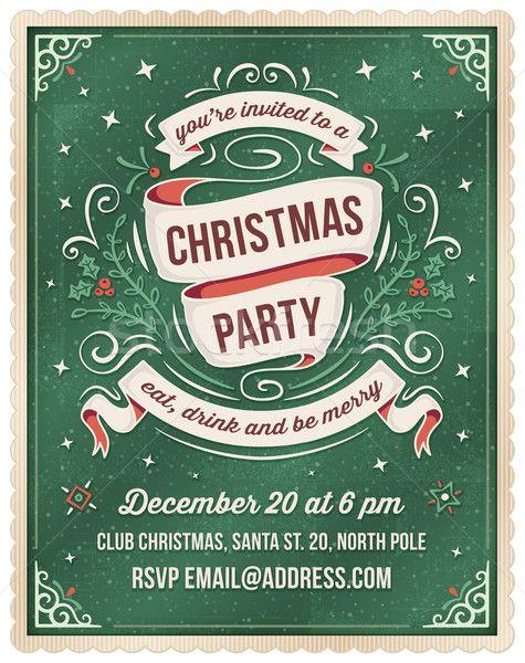 Green Christmas Party Invitation Template vector illustration by Carl Eriksson (cajoer) - Stockfresh #6307944