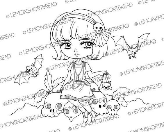 Bat Flapper Girl Digital Stamp, Digi Stamps, Halloween Skulls, Gothic Lolita, Adult Colouring Page, Cardmaking Supply, Instant Download by lemonshortbread on Etsy https://www.etsy.com/listing/242702251/bat-flapper-girl-digital-stamp-digi