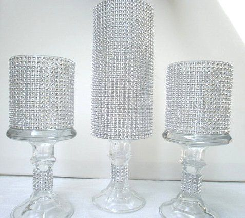 Candles rhinestones and centerpieces on pinterest for Picture frame candle centerpiece