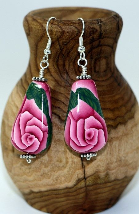 Pink Rose  Flat Teardrop  Earrings by OrdinaryWomen on Etsy