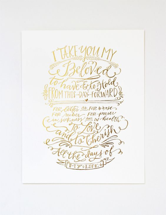 vows print gold vows metallic gold and gold