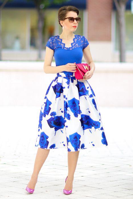 Cobalt top,floral skirt