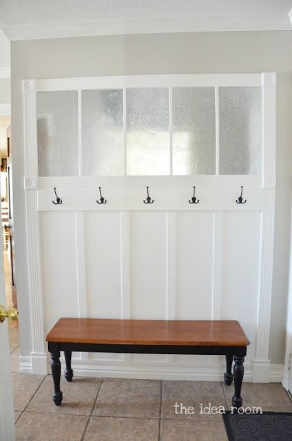 Want to build this in my entry way! The silver slats are sheet metal. Great for magnets and organization!