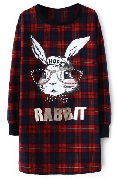 Cute Rabbit Plaid Long Sweatshirt