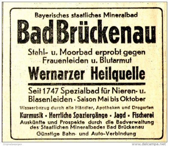 Original-Werbung/Anzeige 1934 - BAD BRÜCKENAU / WERNARZER HEILQUELLE - ca. 65 x…